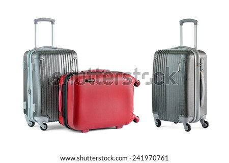 Close up of travel luggage isolated on white background, selective focus.  - stock photo