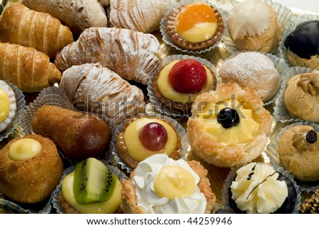 close up of tray of mixed patisserie - stock photo