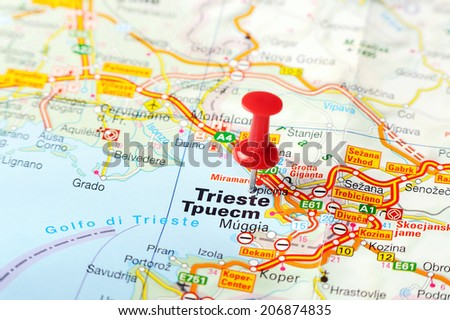 Close up of  Trieste   , Italy map with red pin    - Travel concept - stock photo
