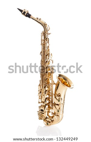 Close-up Of Trumpet Isolated Over White Background