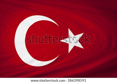 Close up of Turkey flag - stock photo