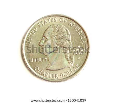 close up of twenty five cent coin on black background. - stock photo