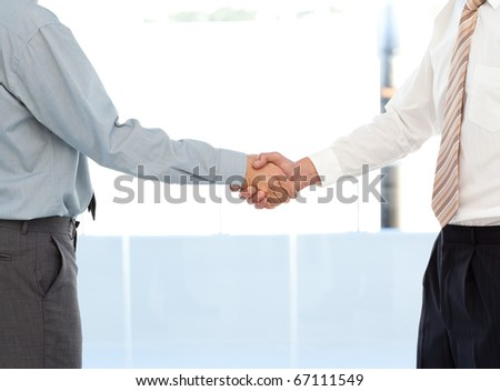 Close up of two businessmen concluding a deal by shaking their hands standing in the office - stock photo