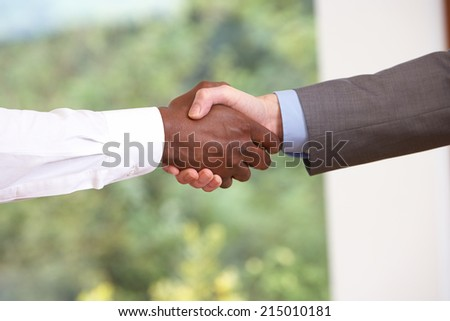 Close Up Of Two Businessmen Shaking Hands - stock photo