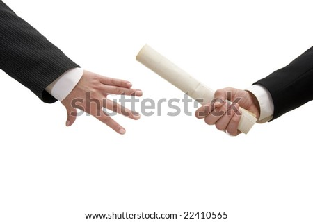 close up of two businesspeople holding documents on white background with clipping path