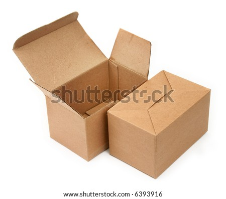 close-up of two cardboard boxes againt white background, minimal shadow among