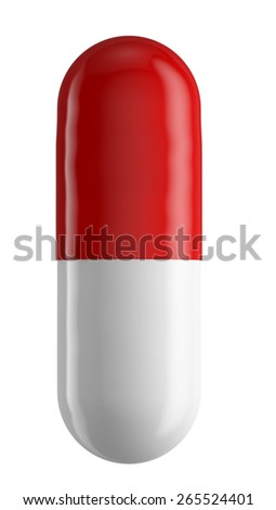 Close up of two colored pill capsule isolated on white, 3d illustration - stock photo