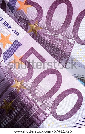 close-up of two five hundred euro banknotes
