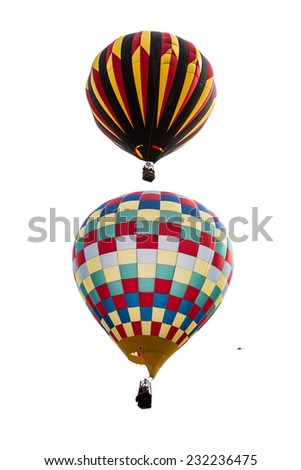 close up of two hot air balloons in mid air in Albuquerque New Mexico - stock photo