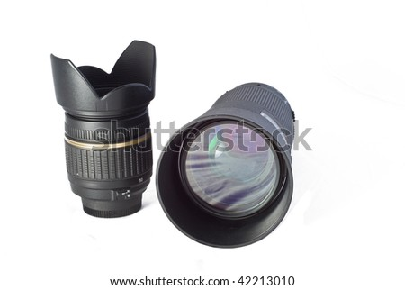 Close-up of two lenses and multiple reflections - stock photo