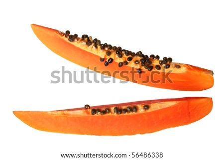 Close-up of two papaya slices. Isolated on white