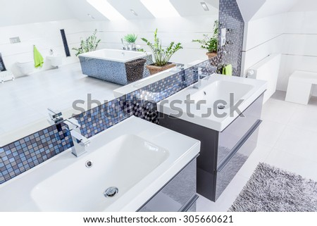 Close-up of two porcelain basins in modern bathroom - stock photo