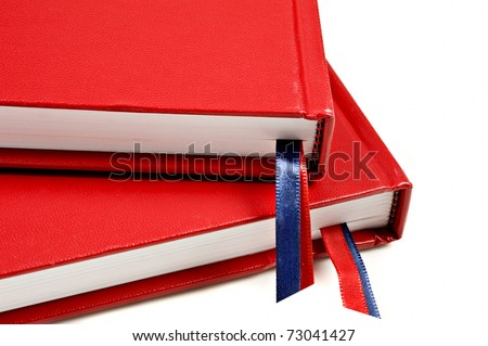 Close up of two red journals - stock photo