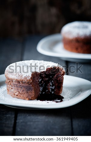 Close up of two tasty chocolate mud cakes