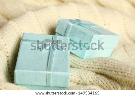 Close-up of two turquoise gift boxes. Boxes for jewelry - stock photo