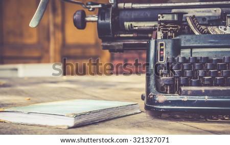 close up of typewriter vintage retro styled - stock photo