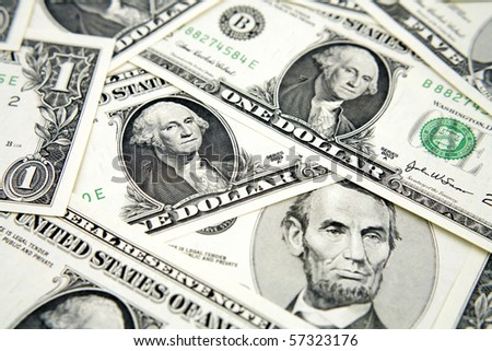 Close-up of U.S. one dollar banknotes
