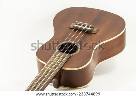 Close up of Ukulele isolated on white background