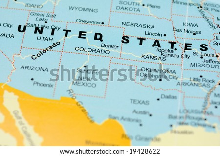 Close up of United States on map - stock photo