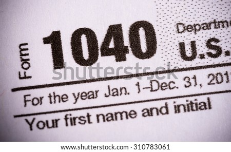 Close-up of United States tax form - stock photo