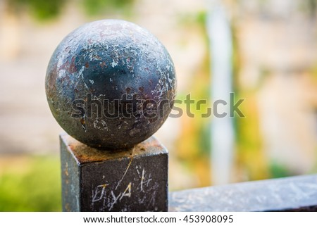 Close-up of urban metal steel ball. - stock photo