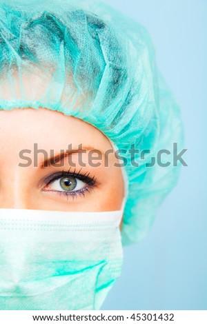 close-up of urgent medic eye - stock photo