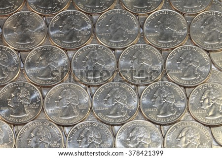 Close up of US coins