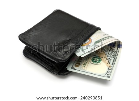 close-up of US dollars in a leather wallet isolated on white background - stock photo
