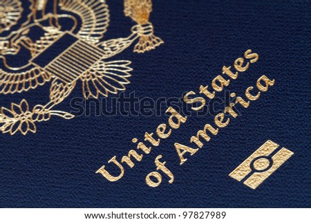 close-up of us passport - stock photo