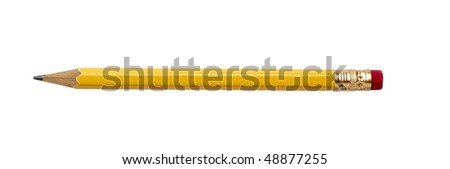 close up of used pencil on white background with clipping path - stock photo