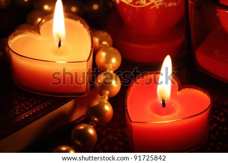 Close-up of valentine candles - stock photo