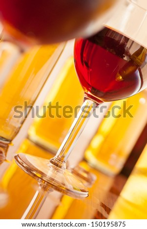 Close up of various alcoholic drinks  - stock photo