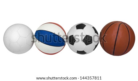 Close-up of various balls in a row