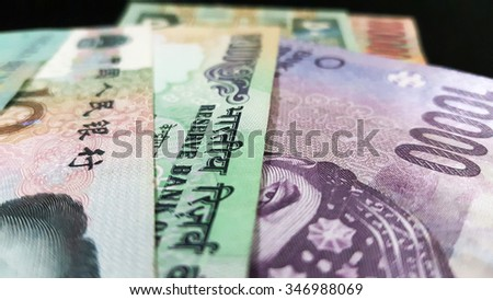 Close up of various country currency note. Soft focus and selective focus image  - stock photo
