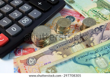 Close up of  Various currency notes and coins from United Arab Emirates - stock photo