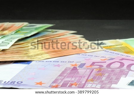 Close-up of various euro banknotes. Selective focus. - stock photo
