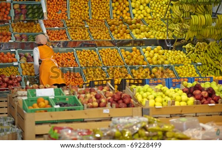 close up of various fruits in a supermarket - stock photo
