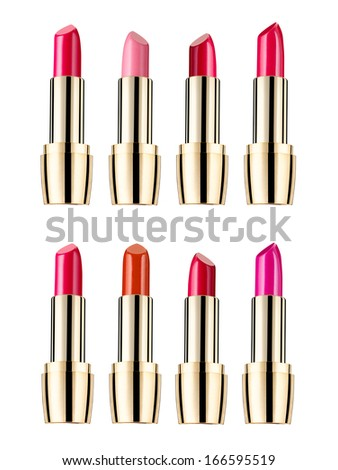 close up of  various lipsticks  on white background - stock photo