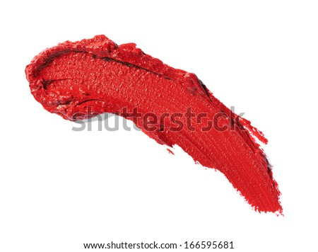 close up of  various lipsticks  on white background