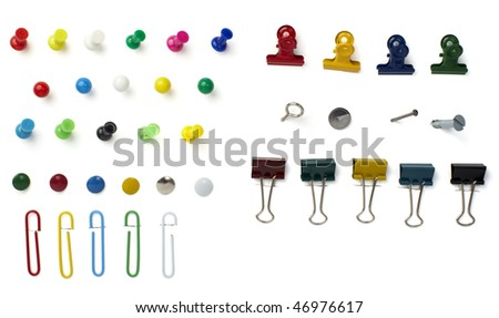 close up of various pushpins  on white background with clipping path - stock photo