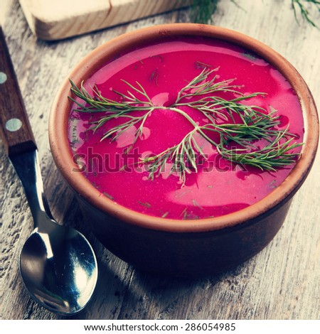 Close up of vegetable cold soup with beetroot - speciality for hot days. Instagram style filtered
