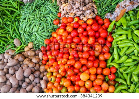 Close up of vegetables at the street market in Jaipur, India. Jaipur is the capital and the largest city of the Indian state of Rajasthan.