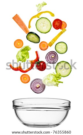 close up of vegetables on white background - stock photo