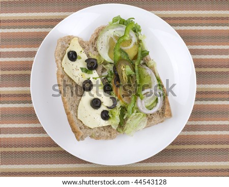 close up of vegetarian sandwich - stock photo