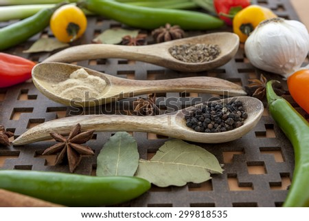 Close up of veggies and spices. - stock photo