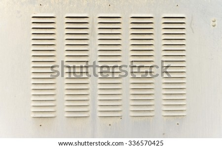 Close-up of vented outdoor metal utility box cover - stock photo