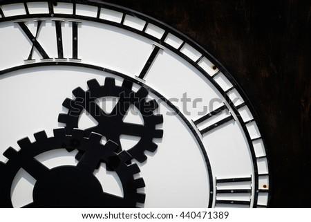 Close up of vintage analogue clock - stock photo