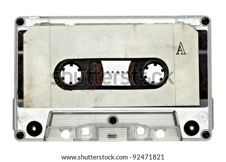close up of vintage audio tape on white background with clipping path - stock photo