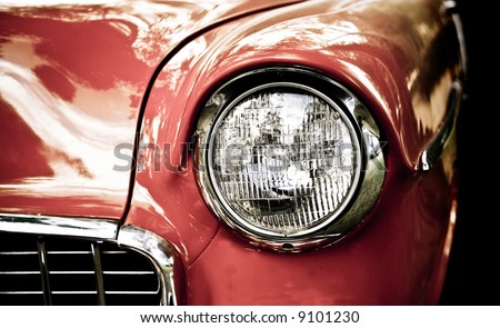 close up of vintage car - stock photo