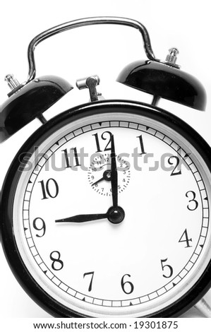 Close up of vintage clock isolated on white - stock photo